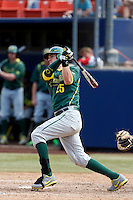 Ryon Healy #25 of the Oregon Ducks bats against the Cal State Fullerton Titans at Goodwin Field on March 3, 2013 in Fullerton, California. (Larry Goren/Four Seam Images)