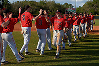 Ball State Cardinals Ross Messina (23), Mack Murphy (12), Aaron Simpson (1), Noah Navarro (8), Ryan Peltier (7) after a game against the Mount St. Mary's Mountaineers on March 9, 2019 at North Charlotte Regional Park in Port Charlotte, Florida.  Ball State defeated Mount St. Mary's 12-9.  (Mike Janes/Four Seam Images)
