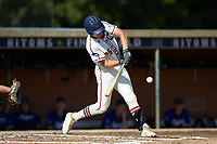 Zach Gelof (26) (UVA) of the High Point-Thomasville HiToms at bat against the Martinsville Mustangs at Finch Field on July 26, 2020 in Thomasville, NC.  The HiToms defeated the Mustangs 8-5. (Brian Westerholt/Four Seam Images)