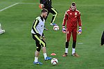 Spanish National Team's  training at Ciudad del Futbol stadium in Las Rozas, Madrid, Spain. In the pic: Sergio Ramos and De Gea. March 25, 2015. (ALTERPHOTOS/Luis Fernandez)