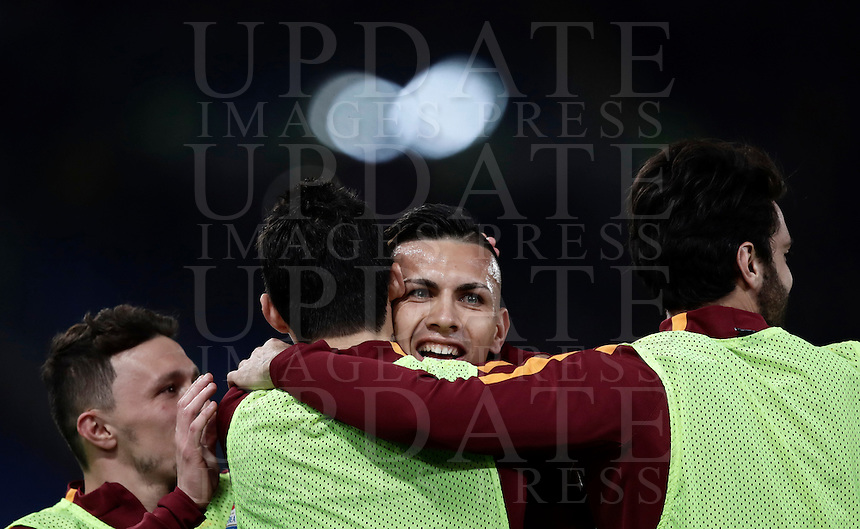 Calcio, Serie A: Roma, stadio Olimpico, 19 febbraio 2017.<br /> Roma's Leandro Paredes (c) celebrates with his teammates Mario Rui, Diego Perotti and Clément Grenier after scoring during the Italian Serie A football match between As Roma and Torino at Rome's Olympic stadium, on February 19, 2017.<br /> UPDATE IMAGES PRESS/Isabella Bonotto