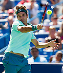 Roger Federer (SUI) wins the first set during his second round match against Vasek Pospisil (CAN) at the Western & Southern Open in a tie-break by 76(4) in Mason, OH on August 13, 2014.