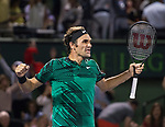 March 31 2017:  Roger Federer (SUI) defeats Nick Kyrgios (AUS) by 7-6, 6-7, 7-6 at the Miami Open being played at Crandon Park Tennis Center in Miami, Key Biscayne, Florida.