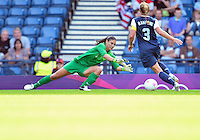 July 25, 2012..Hope Solo (1), and Christie Rampone (3). USA vs France Football match during 2012 Olympic Games at Hampden Park in Glasgow, England. USA defeat France 4-2 after conceding two goals in the first half of the match...(Credit Image: © Mo Khursheed/TFV Media)