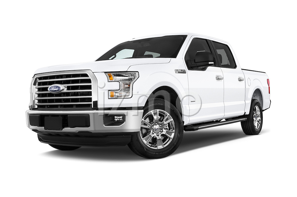 Stock pictures of low aggressive front three quarter view of a 2015 Ford F 150 Xlt 4X2 Ecoboost 5 Door Trucks
