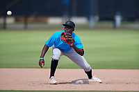 Miami Marlins shortstop Jazz Chisholm (1) during practice before an Instructional League game against the Washington Nationals on September 26, 2019 at FITTEAM Ballpark of The Palm Beaches in Palm Beach, Florida.  (Mike Janes/Four Seam Images)