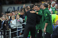 Ryan Giggs manager of Wales greets Roy Kean assistant manager of Republic of Ireland during the UEFA Nations League B match between Wales and Ireland at Cardiff City Stadium in Cardiff, Wales, UK.September 6, 2018