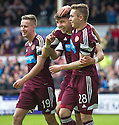 Hearts' Calum Paterson (centre) celebrates after he scores their fifth goal.