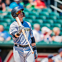 18 July 2018: Trenton Thunder infielder Billy Fleming in action against the New Hampshire Fisher Cats at Northeast Delta Dental Stadium in Manchester, NH. The Thunder defeated the Fisher Cats 3-2 concluding a previous game started April 29. Mandatory Credit: Ed Wolfstein Photo *** RAW (NEF) Image File Available ***