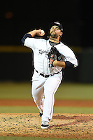 Lakeland Flying Tigers pitcher Scott Sitz (22) delivers a pitch during a game against the Palm Beach Cardinals on April 13, 2015 at Joker Marchant Stadium in Lakeland, Florida.  Palm Beach defeated Lakeland 4-0.  (Mike Janes/Four Seam Images)