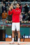 Serbian Novak Djokovic with the championship awards during  TPA Finals Mutua Madrid Open Tennis 2016 in Madrid, May 08, 2016. (ALTERPHOTOS/BorjaB.Hojas)