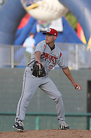 Carolina Mudcats pitcher Mike Rayl #27 on the mound during the first game of a doubleheader against the Myrtle Beach Pelicans at Tickerreturn.com Field at Pelicans Ballpark on May 10, 2012 in Myrtle Beach, South Carolina. Myrtle Beach defeated Carolina by the score of 2-1. (Robert Gurganus/Four Seam Images)