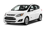 2017 Ford C-Max Energi-Titanium 5 Door Mini MPV Angular Front stock photos of front three quarter view
