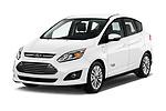 2017 Ford C-Max Energi-Titanium 5 Door Mini MPV Angular Front stock photos of front three quarter view