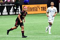 ATLANTA, GA - APRIL 24: Atlanta United forward #7 Josef Martinez follows the play during a game between Chicago Fire FC and Atlanta United FC at Mercedes-Benz Stadium on April 24, 2021 in Atlanta, Georgia.