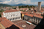 Piazza Vecchia in Bergamo, Italy as seen from above with the Rocca, Castle of Bergamo, the background