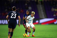 ORLANDO CITY, FL - FEBRUARY 24: Margaret Purce #20 of the USWNT and Yamila Rodriguez #11 of the AFA battle for the ball during a game between Argentina and USWNT at Exploria Stadium on February 24, 2021 in Orlando City, Florida.