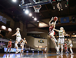SIOUX FALLS, SD - MARCH 7: Rowan Hein #14 of the Denver Pioneers lays the ball up past Michelle Gaislerova #22 of the North Dakota State Bison during the Summit League Basketball Tournament at the Sanford Pentagon in Sioux Falls, SD. (Photo by Richard Carlson/Inertia)