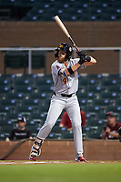 Mesa Solar Sox Brandon Marsh (4), of the Los Angeles Angels organization, at bat during an Arizona Fall League game against the Salt River Rafters on September 19, 2019 at Salt River Fields at Talking Stick in Scottsdale, Arizona. Salt River defeated Mesa 4-1. (Zachary Lucy/Four Seam Images)