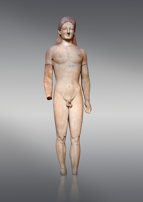 Parian marble Ancient Greek Archaic statue of a kouros, found in Merenda, Attica, Circa 540-530 BC, Athens National Archaeological Museum. Cat no 4890. Against grey.<br /> <br /> This funerary statue was found in the same pit as Phrasikleia cat no 4489. An important Archaic Period sculpture with a lively body rendering and one of the best examples of a kouros statue.