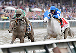 09 August 29: Vineyard Haven (no 1), ridden by Alan Garcia, crosses the finish line first but is disqualified and placed second for bumping into Capt. Candyman Can, ridden by Javier Castellano, in the 25th running of the grade 1 Kings Bishop Stakes for three year olds at Saratoga Race Track in Saratoga Springs, New York.
