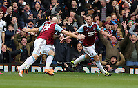 Pictured: Kevin Nolan of West Ham (R) celebrating his second goal with team mate James Collins (L). 01 February 2014<br /> Re: Barclay's Premier League, West Ham United v Swansea City FC at Boleyn Ground, London.