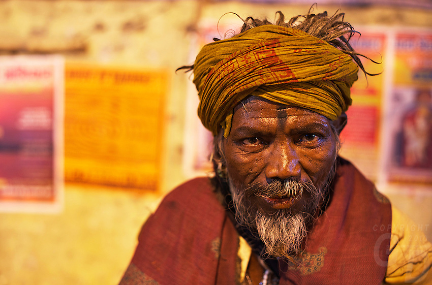 A Sadu on the bank of the Gabges Varanasi India,