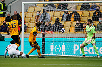 23rd May 2021; Molineux Stadium, Wolverhampton, West Midlands, England; English Premier League Football, Wolverhampton Wanderers versus Manchester United; Anthony Elanga (Manchester United) scores with his header in minute 13 as Rui Patrício of Wolverhampton Wanderers stands helpless on his line