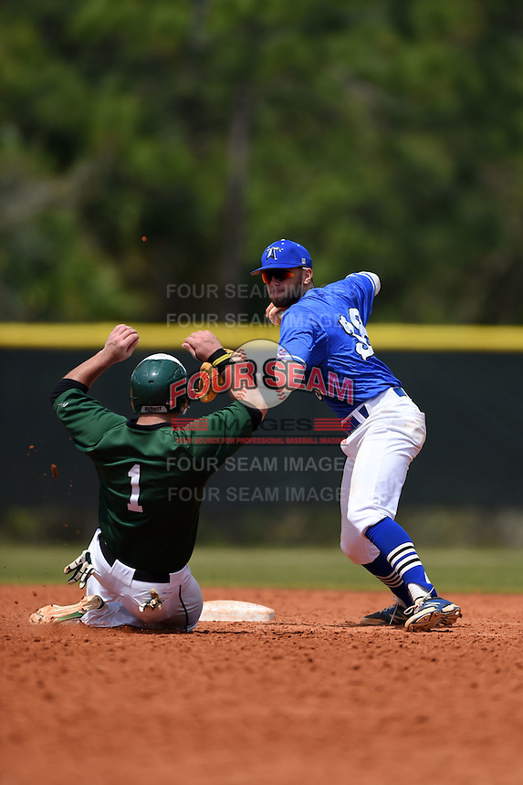 U-Mass Boston Beacons Coley Barker (38) throws to first as Anthony Alvino (1) slides in during a game against the Farmingdale State Rams at North Charlotte Regional Park on March 19, 2015 in Port Charlotte, Florida.  U-Mass Boston defeated Farmingdale 9-5.  (Mike Janes/Four Seam Images)
