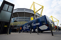 16th May 2020, Signal Iduna Park, Dortmund, Germany; Bundesliga football, Borussia Dortmund versus FC Schalke;  Outdoor shot before the first matchday of the Ghost Games because of the coronavirus. In picture Bus arrival FC Schalke
