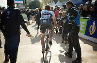 Multiple Roubaix champion Fabian Cancellara (SUI/Trek-Segafredo) leaves the famous velodrome for a very last time (as a pro-rider). <br /> <br /> 114th Paris-Roubaix 2016