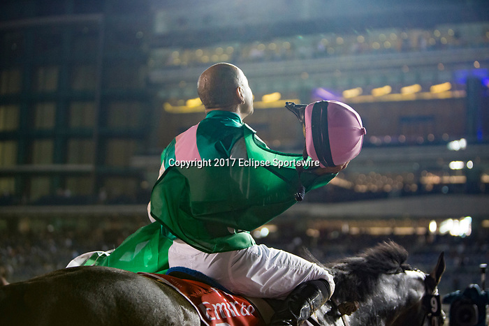 DUBAI,UNITED ARAB EMIRATES-MARCH 25: Mike Smith, after wins the Dubai World Cup at Meydan Racecourse on March 25,2017 in Dubai,United Arab Emirates (Photo by Kaz Ishida/Eclipse Sportswire/Getty Images)