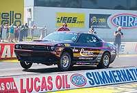 Jul 18, 2020; Clermont, Indiana, USA; NHRA factory stock driver Mark Pawuk during qualifying for the Summernationals at Lucas Oil Raceway. Mandatory Credit: Mark J. Rebilas-USA TODAY Sports