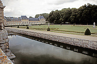 Vaux-le-Vicomte Chateau designed by Louis le Vau. Baroque style with formal gardens and waterways. Maincy, France