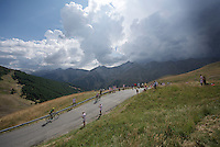 Rafael Valls (ESP/Lampre-Merida) & José Herrada (ESP/Movistar) up the Col d'Allos (1C/2250m/14km/5.5%)<br /> <br /> stage 17: Digne-les-Bains - Pra Loup (161km)<br /> 2015 Tour de France