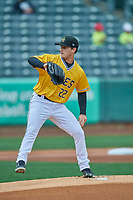 Salt Lake Bees starting pitcher Thomas Pannone (22) makes a throw to the plate against the Tacoma Rainiers at Smith's Ballpark on May 16, 2021 in Salt Lake City, Utah. The Bees defeated the Rainiers 8-7. (Stephen Smith/Four Seam Images)