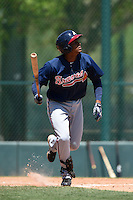 Atlanta Braves infielder Carlos Franco (46) during a minor league spring training game against the Washington Nationals on March 26, 2014 at Wide World of Sports in Orlando, Florida.  (Mike Janes/Four Seam Images)