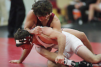 27 October 2007: Peter Miller defeats Kyle Barrett during intra-squad wrestle-offs at Burnham Pavilion in Stanford, CA.