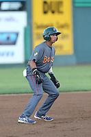 Bryant Flete #28 of the Boise Hawks runs the bases during a game against the Everett AquaSox at Everett Memorial Stadium on July 25, 2014 in Everett, Washington. Everett defeated Boise, 2-1. (Larry Goren/Four Seam Images)