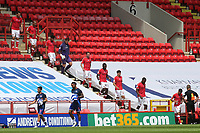 The Charlton players walk down the steps in the West Stand and onto the pitch ahead of kick-off during Charlton Athletic vs Reading, Sky Bet EFL Championship Football at The Valley on 11th July 2020