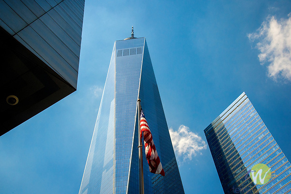 World Trade Center, New York City, NY 10003, view with american flag.
