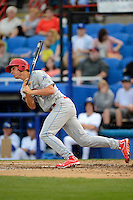 Clearwater Threshers outfielder Cameron Perkins #27 during a game against the Dunedin Blue Jays at Florida Auto Exchange Stadium on April 4, 2013 in Dunedin, Florida.  Dunedin defeated Clearwater 4-2.  (Mike Janes/Four Seam Images)