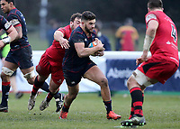 Ben Mosses of London Scottish brings the ball forward during the Greene King IPA Championship match between London Scottish Football Club and Jersey at Richmond Athletic Ground, Richmond, United Kingdom on 16 December 2017. Photo by Mark Kerton / PRiME Media Images.
