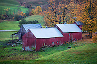 Rustic red barn in the vermont countryside.