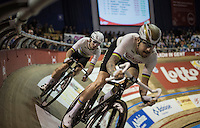 Mark Cavendish (GBR/Dimension Data) tucked in behind Sir Bradley Wiggins (GBR/Wiggins) before launching himself into a fastest lap<br /> <br /> <br /> 2016 Gent 6<br /> day 4