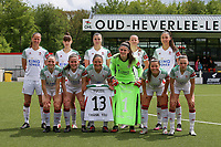 Lenie Onzia (8) of OHL, Zenia Mertens (6) of OHL, Auke Swevers (4) of OHL, Hannah Eurlings (9) of OHL, Auke Swevers (4) of OHL (front row L to R) Estee Cattoor (11) of OHL, Marie Detruyer (17) of OHL, Sara Yuceil (13) of OHL, Goalkeeper Louise Van Den Bergh (1) of OHL, Luna Vanzeir (10) of OHL and Jill Janssens (7) of OHL pose for the team photo before a female soccer game between Oud Heverlee Leuven and AA Gent Ladies on the 9 th matchday of play off 1 in the 2020 - 2021 season of Belgian Womens Super League , saturday 22 nd of May 2021  in Heverlee , Belgium . PHOTO SPORTPIX.BE | SPP | SEVIL OKTEM