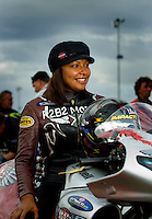 Oct. 31, 2008; Las Vegas, NV, USA: NHRA pro stock motorcycle rider Peggy Llewellyn during qualifying for the Las Vegas Nationals at The Strip in Las Vegas. Mandatory Credit: Mark J. Rebilas-