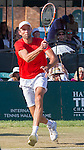 Ivo Karlovic (CRO) defeats Jack Sock (USA) 7-6, 6-4 at the Tennis Hall of Fame Championships in Newport, Rhode Island on July 18, 2015.