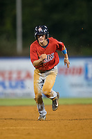 Sean Miller (4) of the Elizabethton Twins hustles towards third base against the Kingsport Mets at Hunter Wright Stadium on July 8, 2015 in Kingsport, Tennessee.  The Mets defeated the Twins 8-2. (Brian Westerholt/Four Seam Images)
