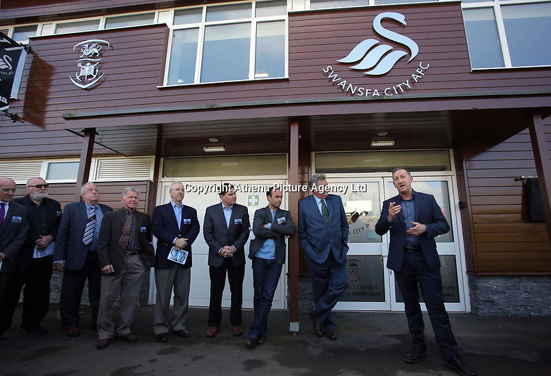 Pictured: Club chairman Huw Jenkins (R) speaks befire the unveiling of the plaque next to owners Jason Levien, Steve Kaplan, American football player Landon Donovan and John Toshack MBE Tuesday 04 April 2017<br />